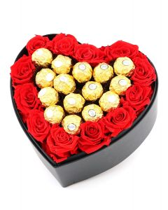 Rose Heart with Chocolates