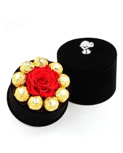 Cylinder Rose Box-Red with Chocolates