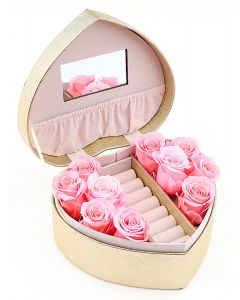 Heart Shaped Jewellery Box with Roses B