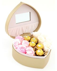 Heart Shaped Jewellery Box with Roses & Chocolates B